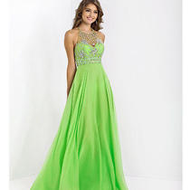 Blush 2014 Prom Dresses- Lime Beaded Halter Prom Gown-Size 10-Tailored Photo