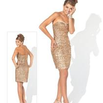 Blush Alexia Black Collection Style C073 Size 4 Gold Prom Party Formal Dress Photo