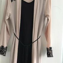Blush and Black Abaya Dress Elegant With Belt Photo