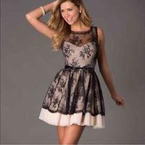 Blush Black Lace Prom Dress Photo