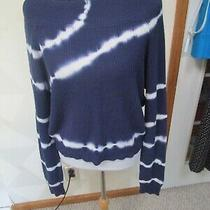 Blush & Bloom-Navy/white-Tie Dye-Long Sleeve-Boat Neck Sweater-Size-M-Nwt-48 Photo