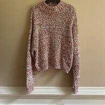 Blush & Bloom Popcorn Funnel Neck Sweater Rose/white Size L Photo