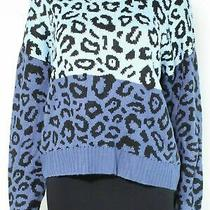 Blush & Bloom Women's Sweater Blue Size Large L Pullover Leopard Print 42 799 Photo