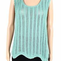 Blush & Bloom Womens Sweater Tank Top Green Large L Scalloped-Hem Knit 38 598 Photo