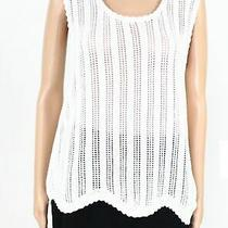 Blush & Bloom Womens Sweater Tank Top White Sz L Scallop Pointelle Knit 38 092 Photo