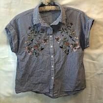 Blush Blue White Floral Embroidered Button Up Cuff Sleeve Top Sz. M Photo
