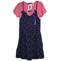 Blush by Us Angels Girl Large 14/16 Navy Pink 2 Piece Romper T-Shirt Set Nwt Photo