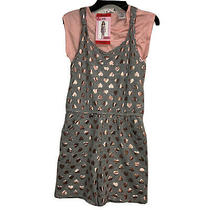 Blush by Us Angels Girl Medium 10/12 Grey Pink 2 Piece Romper T-Shirt Set Nwt Photo