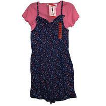 Blush by Us Angels Girl Medium 10/12 Navy Pink 2 Piece Romper T-Shirt Set Nwt Photo