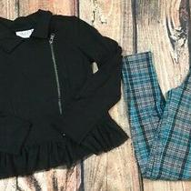 Blush by Us Angels Girls 2 Pc Outfit Black Zip Jacket Teal Plaid Pants Size 8 Photo