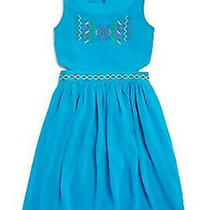Blush by Us Angels Girls' Embroidered Cutout Dress -Big Girl's Size 14 Blue New Photo