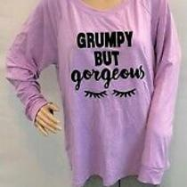 Blush by Us Angels Lounge Pajama Gray Pant & Purple Top Grumpy but Gorgeous Set Photo