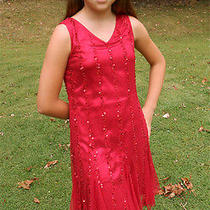 Blush by Us Angels Tween Gatsby Red Beaded Deigner Holiday Dress Nwt 150 12 Photo