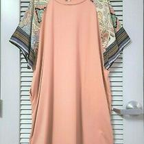 Blush Contrast Print Dolman Slev Dress Xl W/ Anthropologie Earrings Photo