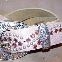 Blush Coral Leatherock Studded Swarovski Crystal Rhinestone Westernbling Belt Photo