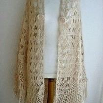 Blush Cream Crochet Mohair Blend Open Weave Wrap Shawl Long Fringe Small-Medium  Photo