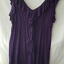 Blush    Dark Purple  Ruffled v-Neck  S/less  Dress   Size M Photo