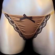 Blush Day & Night Thong Panty in Gold With Black Lace in Size Xl Photo