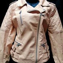 Blush Faux Leather Look Biker Jacket Size L Approx 14 16 Zips Buckles Detailing  Photo