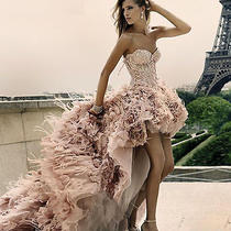 Blush Feather Bridal Dresses Pink High Low Strapless Wedding Luxury Sexy Dress Photo