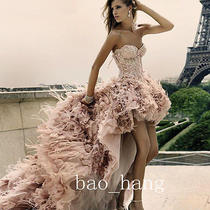 Blush Feathers Hi Low Wedding Dresses Luxury Strapless Bridal Gowns Custom Size Photo