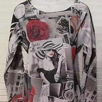 Blush Floral Print Graphic Long Sleeve Top Size Large  Photo