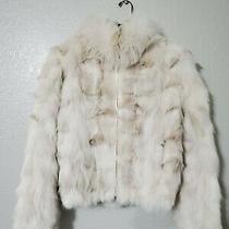 Blush Fox Fur Zip Up Jacket Vintage 8 Photo
