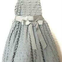 Blush Girls Dress Grey Pink Ruffle Sleeveless Ribbon Belt Puffy Dressy Sz L 7- 8 Photo