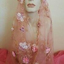 Blush Gold Lace Bead Flapper 20's Infinity Headpiece Bridal Veil Costume Wedding Photo