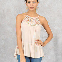 Blush Halter Crinkle Boho Cami Top With Crochet Bib Trim- Small Photo