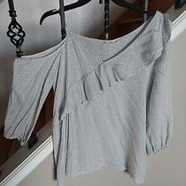 Blush Heart Shirt Blouse Tunic One Shoulder Ruffled Size S Black/white New Photo