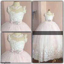 Blush Lace Flower Girl Dresses Kid Toddler Princess Pageant Birthday Prom Gowns Photo