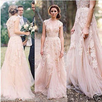 Blush Lace Long Wedding Dress v-Neck Cap Sleeve Boho Beach Bridal Gowns Custom Photo