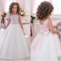 Blush Lace Tulle Wedding Easter Junior Bridesmaid Baptism Baby Flower Girl Dress Photo