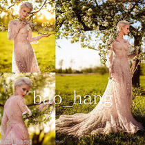 Blush Lace Wedding Dresses New a Line Sheer Long Sleeve Fairy Bridal Gown Beads  Photo