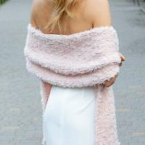 Blush Light Pink Bridal Shawl Wrap Winter Wedding Cover Up Faux Fur Coverup Knit Photo