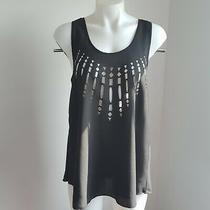Blush Medium Tank Top Blouse Black Decorative Holes in Front Photo