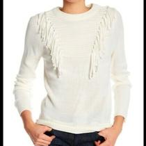 Blush Noir Ivory Fringe Crewneck Pullover Sweater Size Large Photo