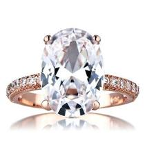 Blush Oval Cut 5 Carat Rose Goldtone Cz Engagement Ring Photo