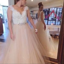 Blush Pink a-Line Tulle Wedding Dress 2016 Backless Bohemia Lace Bridal Gown Photo