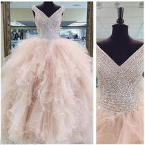 Blush Pink Beaded Quinceanera Dress v Neck Prom Pageant Evening Ball Gown Custom Photo