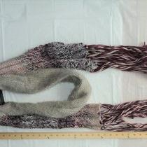 Blush Pink Berry Wine Tan Beige Yarn Fringe  Winter Soft Knit Scarf - Flash Sale Photo