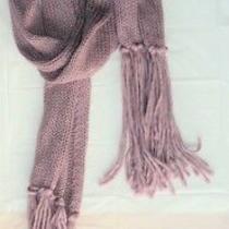 Blush Pink Berry Yarn Fringe Tails Winter Soft Knit Scarf - Flash Sale Photo