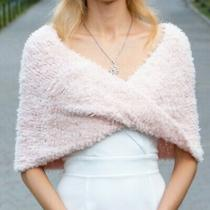 Blush Pink Bridal Infinity Wrap Winter Wedding Cover Up Faux Fur Coverup Shawl Photo