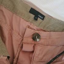 Blush Pink Chinos Next Size 8l Brown Plaited Belt Pleated Photo