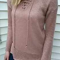 Blush Pink Democracy Long Sleeve Knit Tops Lace Up Cross Sweater Size Small Photo
