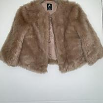 Blush Pink Faux Fur Coat Size 8/10 Winter Crop Stylish Blogger Smart Celeb Cute Photo