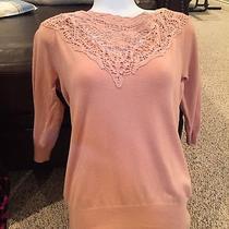Blush Pink Forever 21 3/4 Sleeve Crochet Sweater  Photo