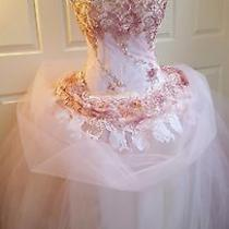 Blush Pink Gold & White One Shoulder Corset Embroidered Lace Wedding Ballgown Photo