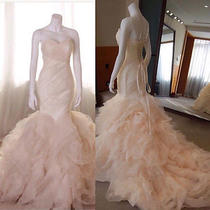 Blush Pink Mermaid Wedding Dress Strapless Tiered Long Train Bridal Gown Custom Photo